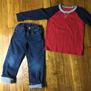 Boys 2 Piece Gap Long Sleeve Tee & Quilted Jeans
